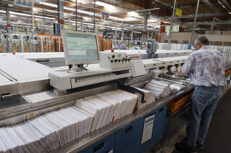 Postal distribution centre, France