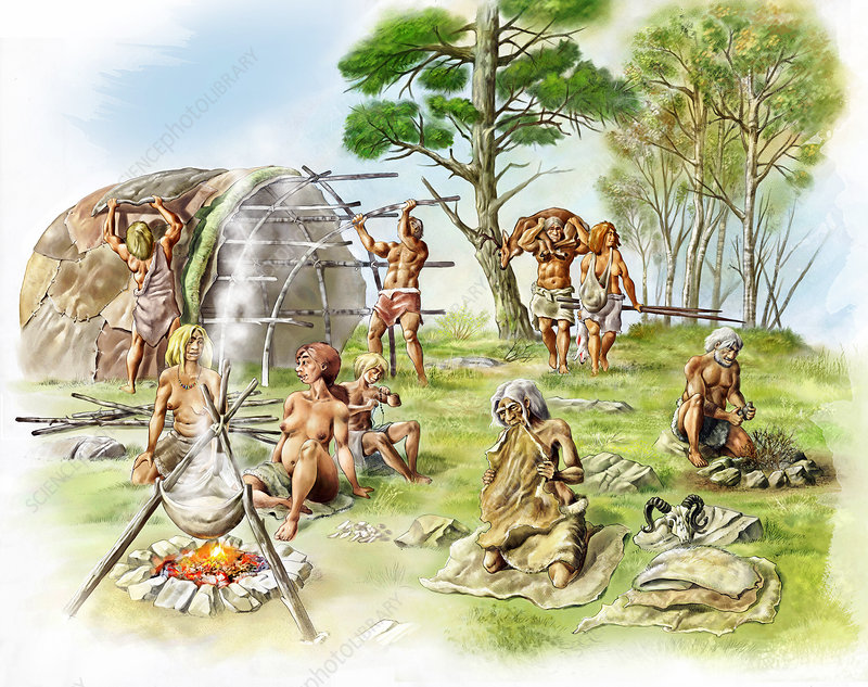 Neanderthal settlement, artwork