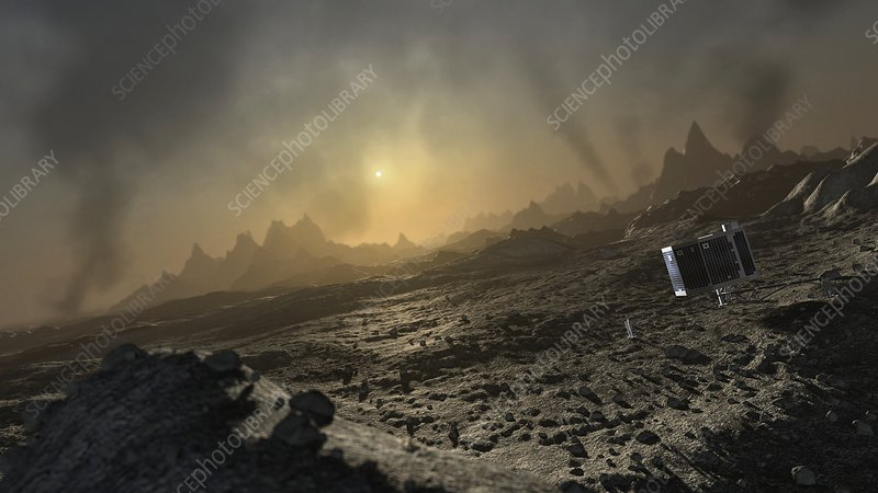 Artwork of Philae lander on comet 67P