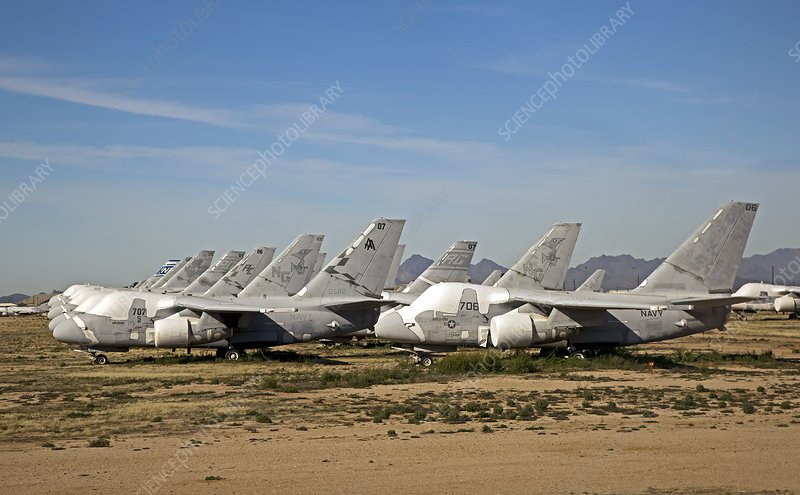 Military aircraft in salvage yard