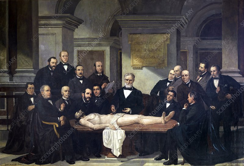 Surgery lesson, Madrid, 1885