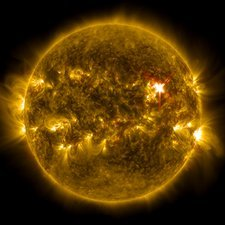 Sun and X1 solar flare, ultraviolet image