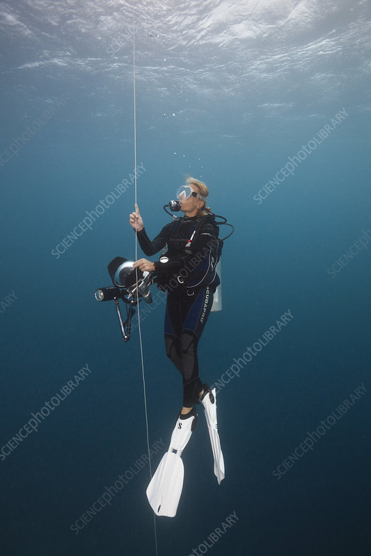 Scuba Diver doing Safety stop with Buoy
