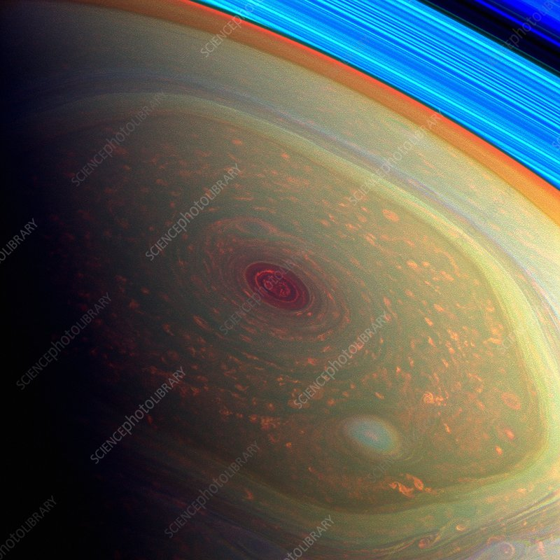 Saturn's north polar storm, Cassini image
