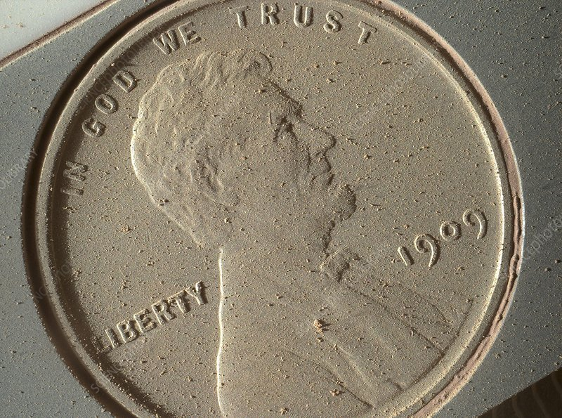 US penny, Curiosity Rover image