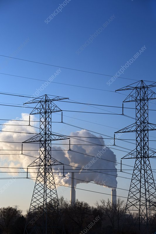 Pylons and coal-fired power station