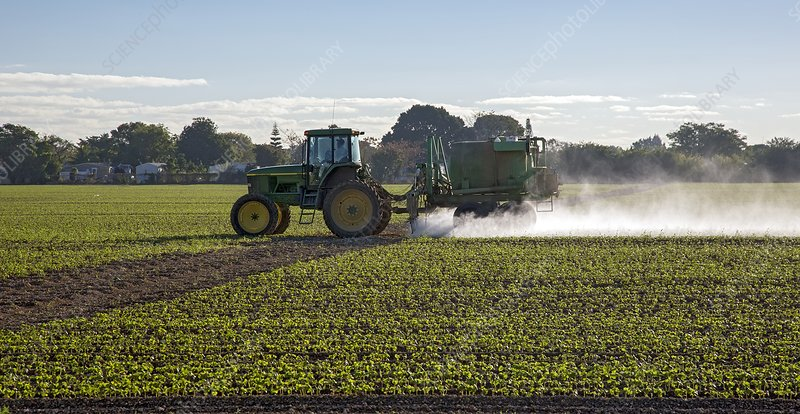 Crop spraying with pesticide