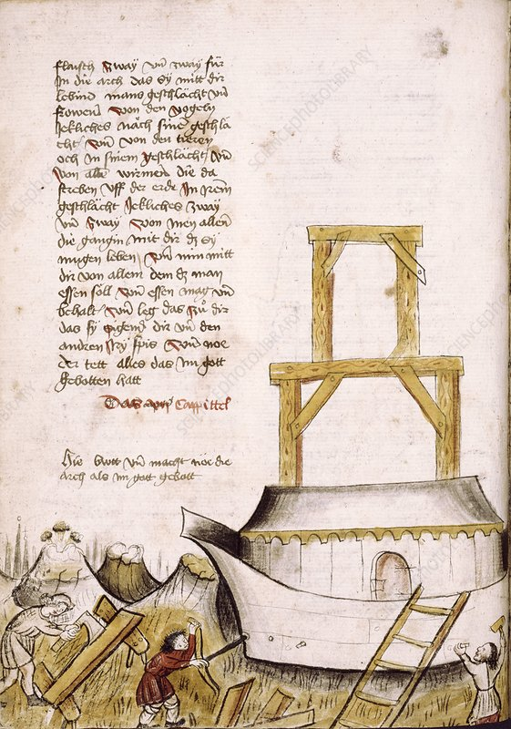 Building the Ark, medieval manuscript