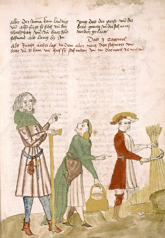Medieval farm workers, artwork