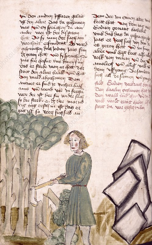Medieval woodcutter, artwork