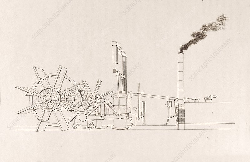Fulton's paddleboat engine, artwork