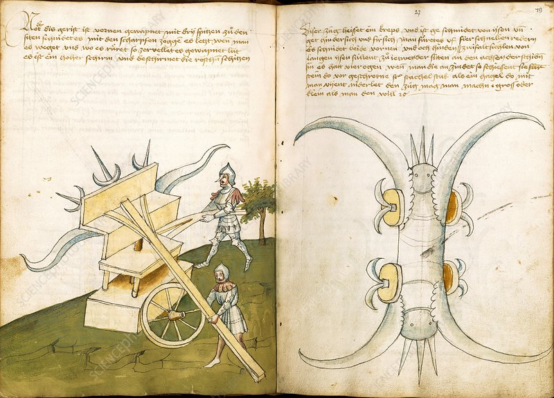 15th century military equipment, artwork