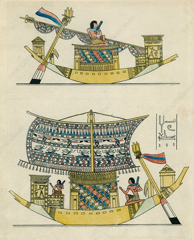 Ancient Egyptian ship, historical artwork