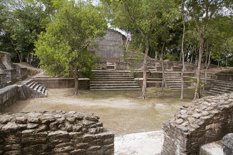 Maya plaza and temple, Belize