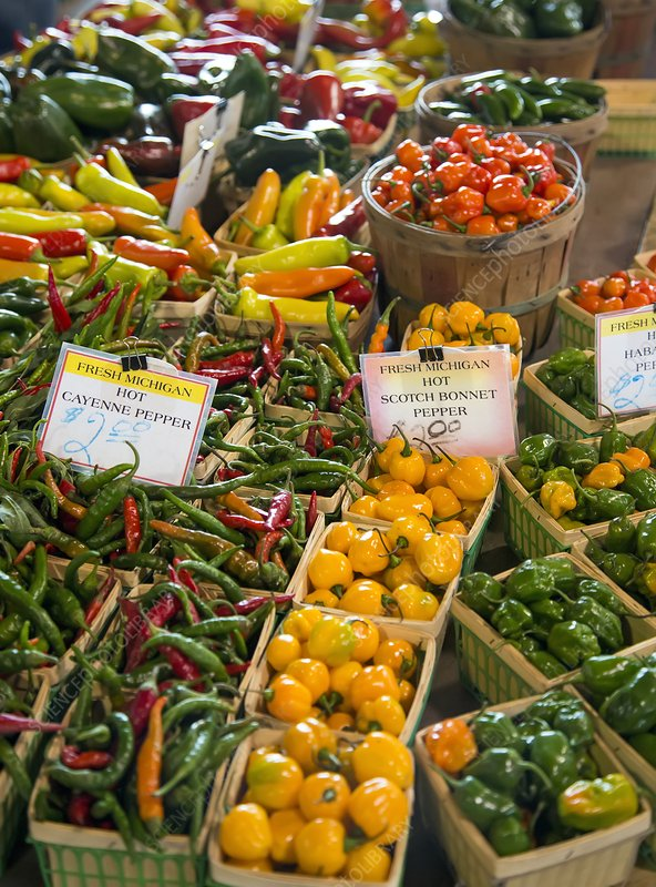 Peppers on a market stall