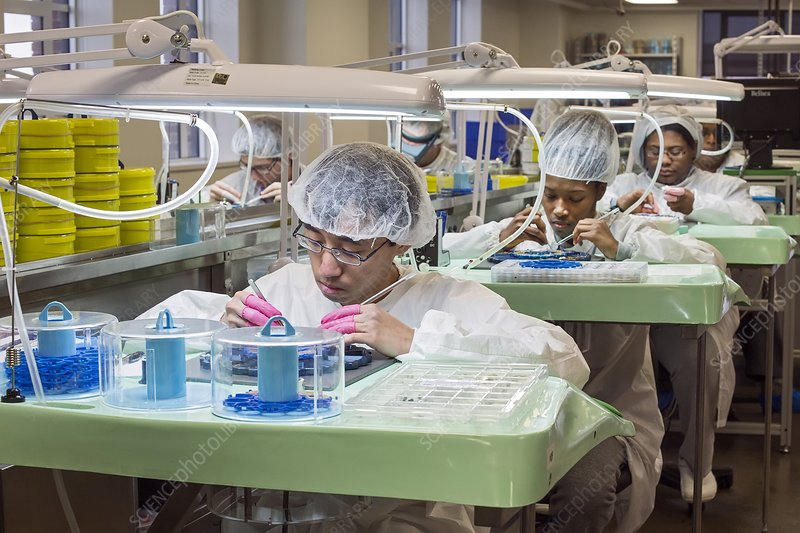 Watch factory production workers