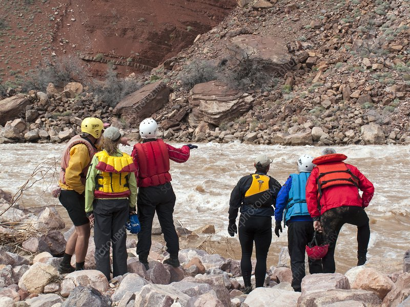 Rafters scouting rapids, Grand Canyon