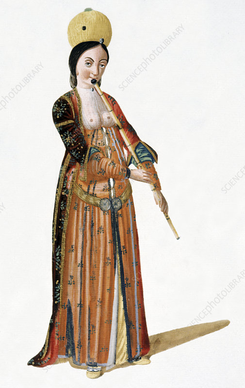 Woman playing a flute, illustration