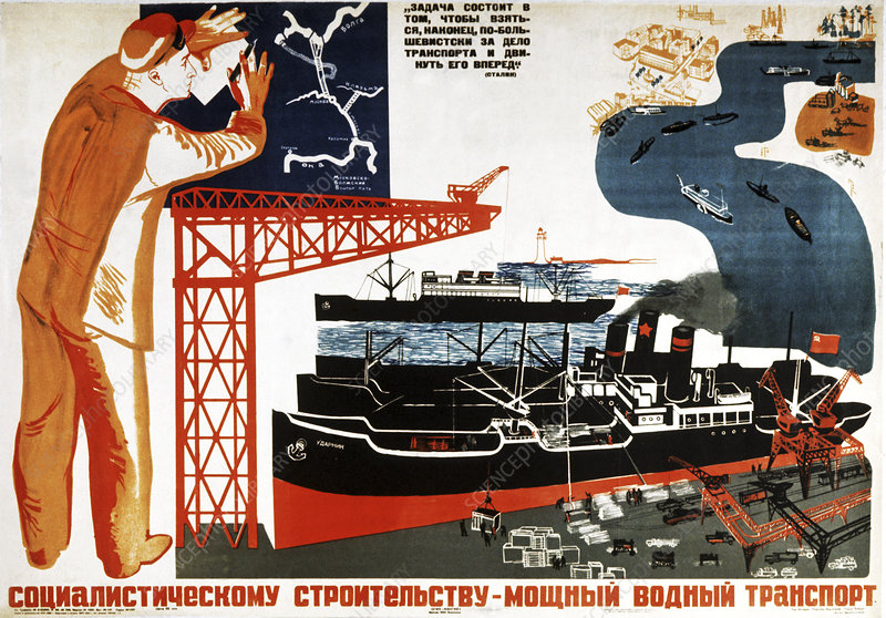 1930s Soviet poster, illustration