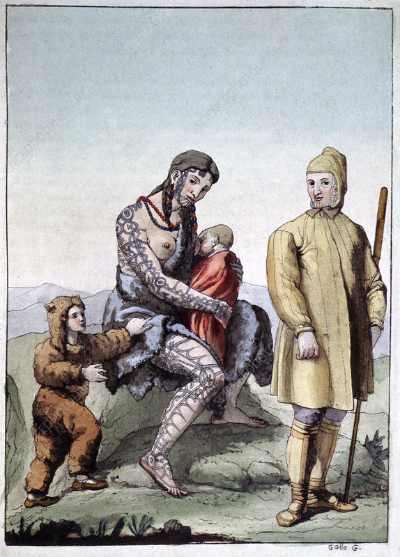 Chukchi family, historical illustration