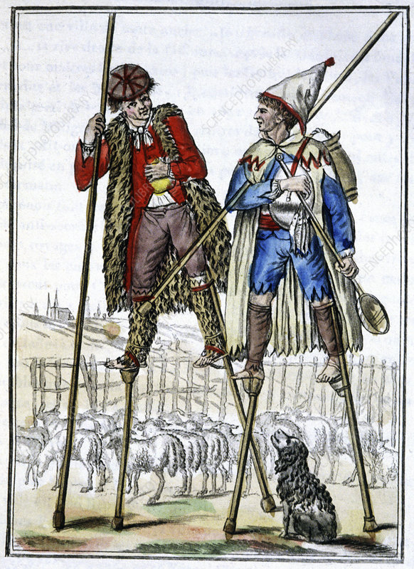 French shepherds on stilts, illustration