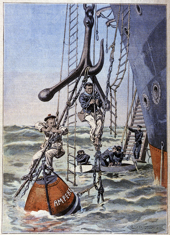 Repairing a telegraph cable, illustration