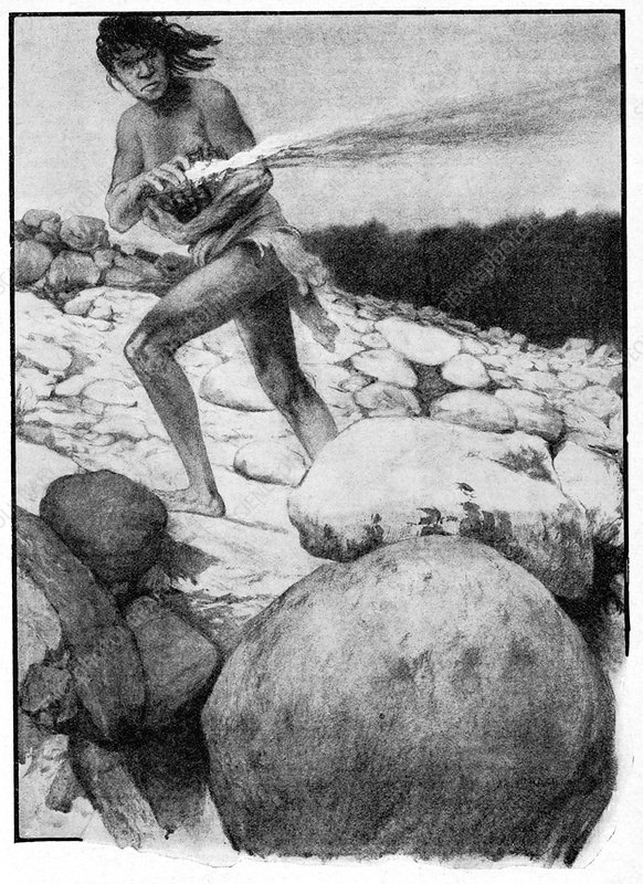 Prehistoric man with fire, illustration