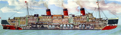 RMS Queen Mary ocean liner, illustration