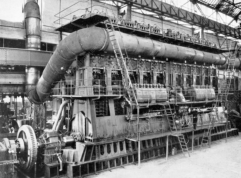 Ocean liner engine, historical image