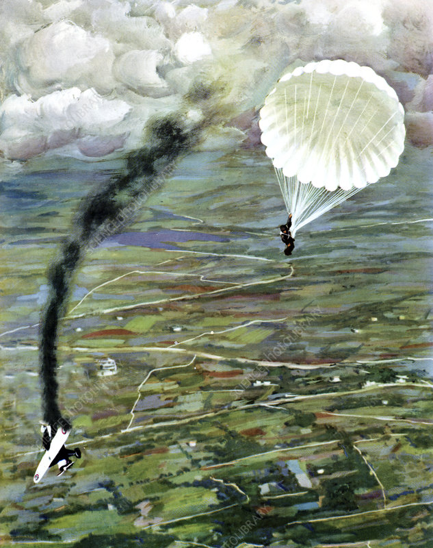 Aeroplane being shot down, illustration