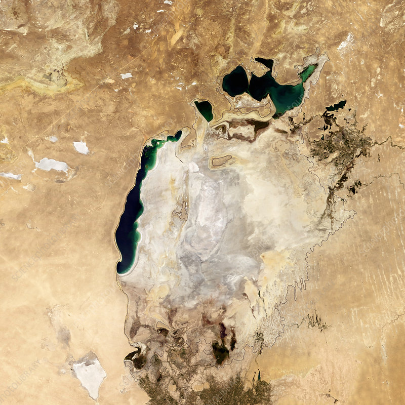 Aral Sea, satellite image, 2014