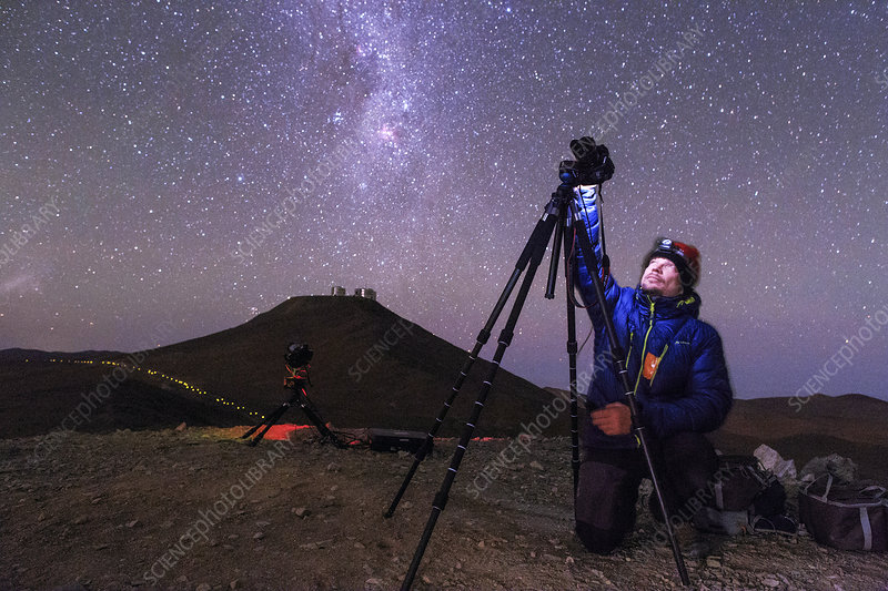 Astrophotographer in the desert, Chile