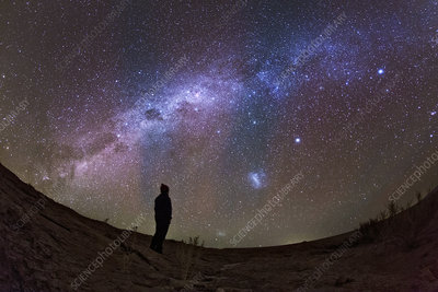 A stargazer observing the Milky Way
