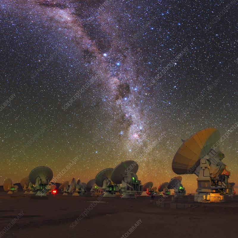 Sky above ALMA radio telescope, Chile