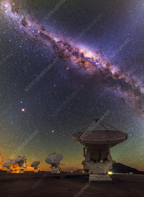 Sky above ALMA radio telescope, Chile