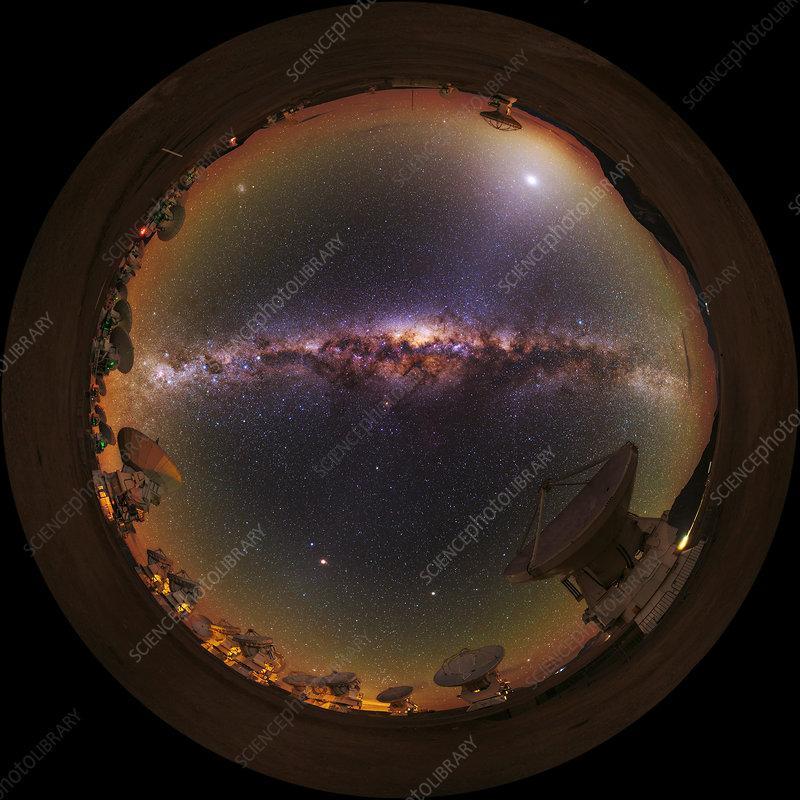 Fisheye view, ALMA radio telescope, Chile