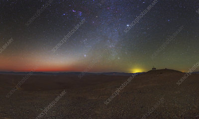 Milky Way and zodiacal light at dusk