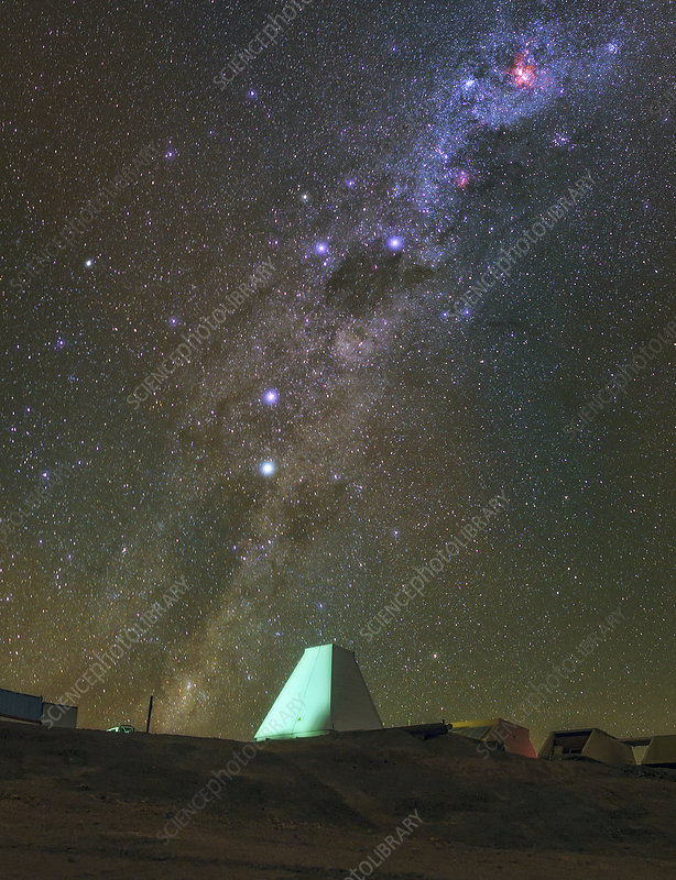 Milky Way and observatory, Chile