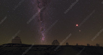 Total lunar eclipse, mars and Milky Way