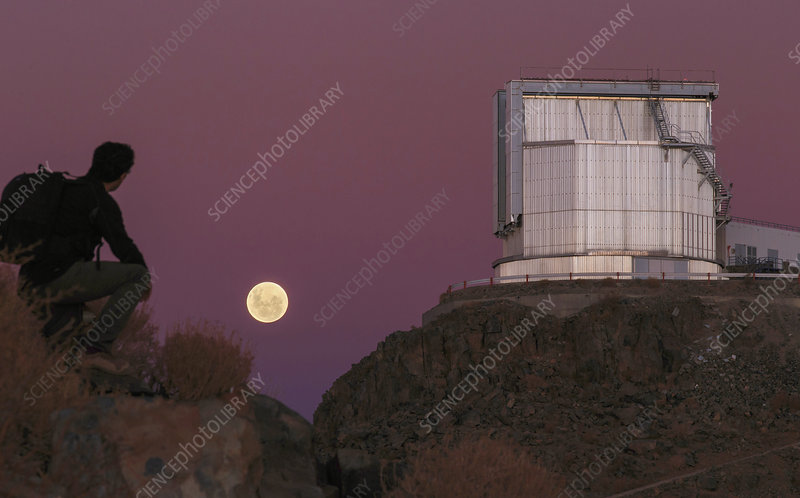 Moonrise behind the NTT telescope, Chile