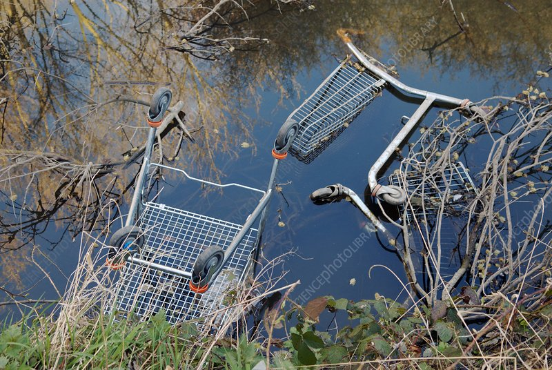 Dumped shopping trolleys