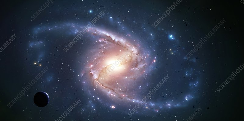 Artwork of a barred spiral galaxy
