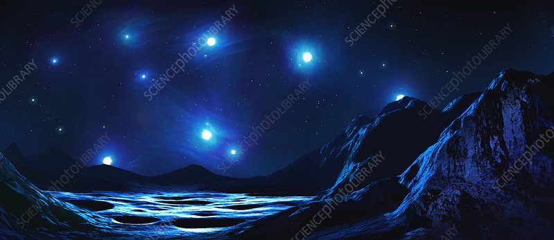 Pleiades cluster seen from nearby planet