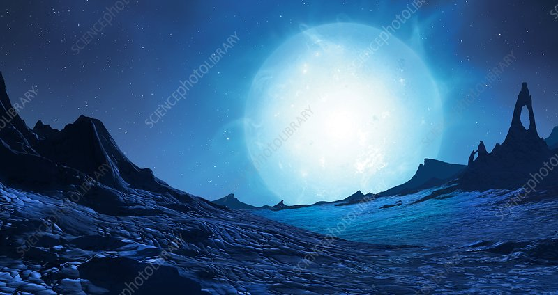 Blue supergiant seen from orbiting planet - Stock Image ...
