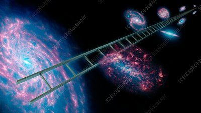 Cosmic distance ladder, conceptual image