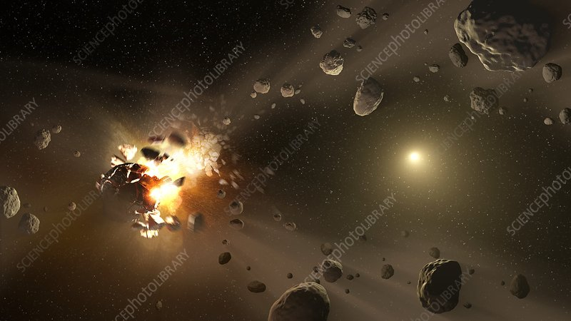 Creation of asteroids, conceptual image