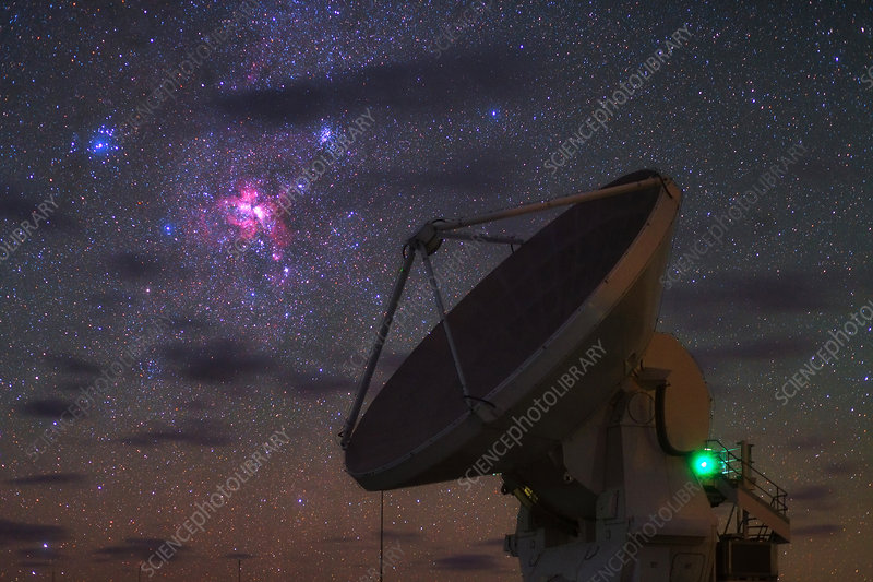 Carina Nebula over ALMA telescope, Chile