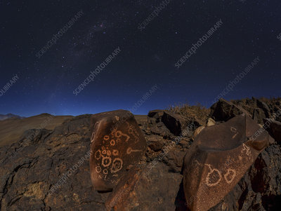 Milky Way over petroglyphs