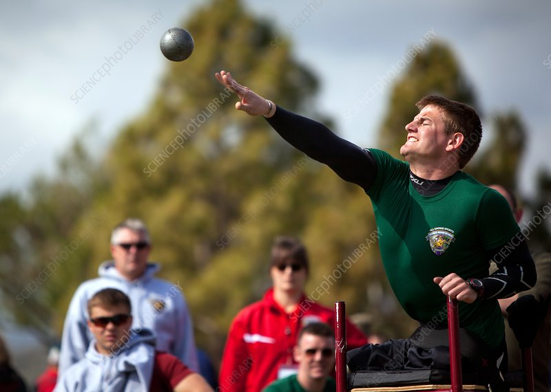 Amputee shot put athlete