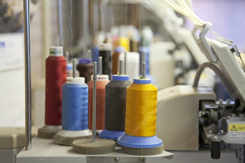 Coloured threads on embroidery machine